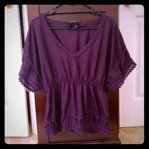 Purple Blouse with Cinched Waist